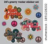 70s retro groovy hippie logo... | Shutterstock .eps vector #1851228232