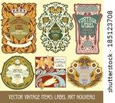 vector vintage items  label art ... | Shutterstock .eps vector #185123708