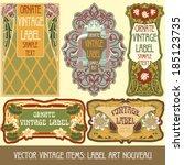vector vintage items  label art ... | Shutterstock .eps vector #185123735