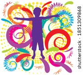 child silhouette with colorful... | Shutterstock .eps vector #1851309868