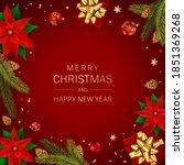 christmas balls  poinsettia ...   Shutterstock .eps vector #1851369268