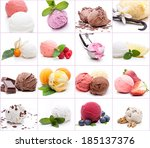 many different scoops of ice... | Shutterstock . vector #185137376