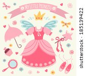 Set of accessories for Little Princess. Template greeting card or invitation.