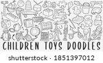 Children Toys Doodle Icon Set....