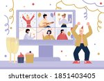 virtual internet party with... | Shutterstock .eps vector #1851403405