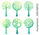 ornate green trees. six various ... | Shutterstock .eps vector #185140922
