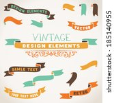 set of color retro ribbons for... | Shutterstock .eps vector #185140955