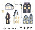 evening town clip art set. hand ... | Shutterstock . vector #1851411895