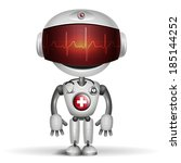 robot doctor with stethoscope.... | Shutterstock .eps vector #185144252