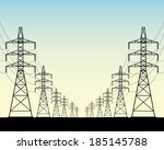 two rows of power line poles on ... | Shutterstock .eps vector #185145788