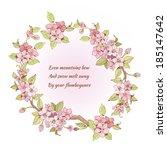 pink sakura cherry branch frame ... | Shutterstock .eps vector #185147642