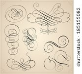 set of calligraphy elements | Shutterstock .eps vector #185155082