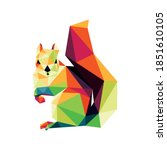 Squirrel In Colorful Polygonal...