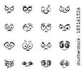 vector black  cartoon  eyes ... | Shutterstock .eps vector #185161526