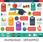 flat infographic education... | Shutterstock .eps vector #185164922