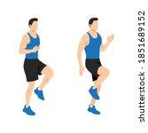 high knees. front knee lifts....   Shutterstock .eps vector #1851689152