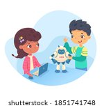 kids playing with robot from... | Shutterstock .eps vector #1851741748