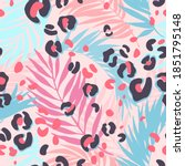 bright tropical leaves and... | Shutterstock .eps vector #1851795148