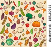 seamless vegetables pattern on... | Shutterstock .eps vector #185180936