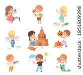 cheerful kids showing...   Shutterstock .eps vector #1851809398