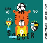 tiger the playing soccer funny... | Shutterstock .eps vector #1851810925