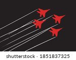 aerobatic team with fighter...   Shutterstock .eps vector #1851837325