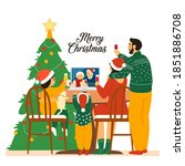 family in santa hats... | Shutterstock .eps vector #1851886708
