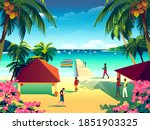 tropical island landscape with... | Shutterstock .eps vector #1851903325