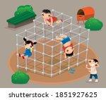 hong kong kids playing old... | Shutterstock .eps vector #1851927625