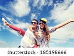 summer holidays and teenage... | Shutterstock . vector #185198666