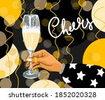 hand holding a glass with... | Shutterstock .eps vector #1852020328