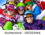 portrait of smiling friends... | Shutterstock . vector #185203466
