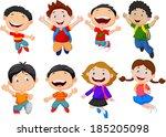 happy school kid cartoon | Shutterstock . vector #185205098