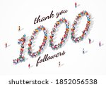 1k followers. group of business ... | Shutterstock .eps vector #1852056538
