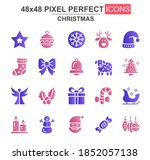 merry christmas glyph icon set. ...