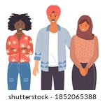 group of young people of... | Shutterstock .eps vector #1852065388