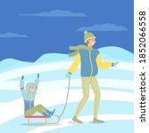 father and son on a winter walk.... | Shutterstock .eps vector #1852066558