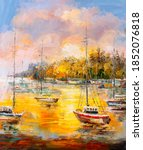 Oil Painting   Harbor View ...