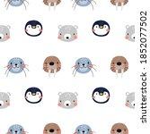vector with cute arctic animals ... | Shutterstock .eps vector #1852077502