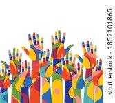 colorful up hands. volunteers....   Shutterstock .eps vector #1852101865