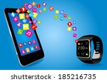 smartwatch and smart phone with ... | Shutterstock .eps vector #185216735