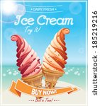 ice cream poster. vector... | Shutterstock .eps vector #185219216