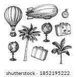 vintage travel set. ink sketch...   Shutterstock .eps vector #1852195222