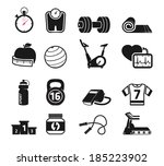 fitness and sport icons set bw | Shutterstock .eps vector #185223902