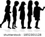 black silhouette of children on ...   Shutterstock .eps vector #1852301128