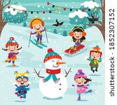 funny kids playing at winter | Shutterstock .eps vector #1852307152