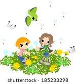 children flying seeds in the... | Shutterstock .eps vector #185233298