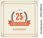Vintage anniversary message emblem. Retro vector background.