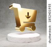 Shopping Cart Icon. Gold Glossy ...