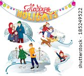 happy holidays set | Shutterstock .eps vector #185249522